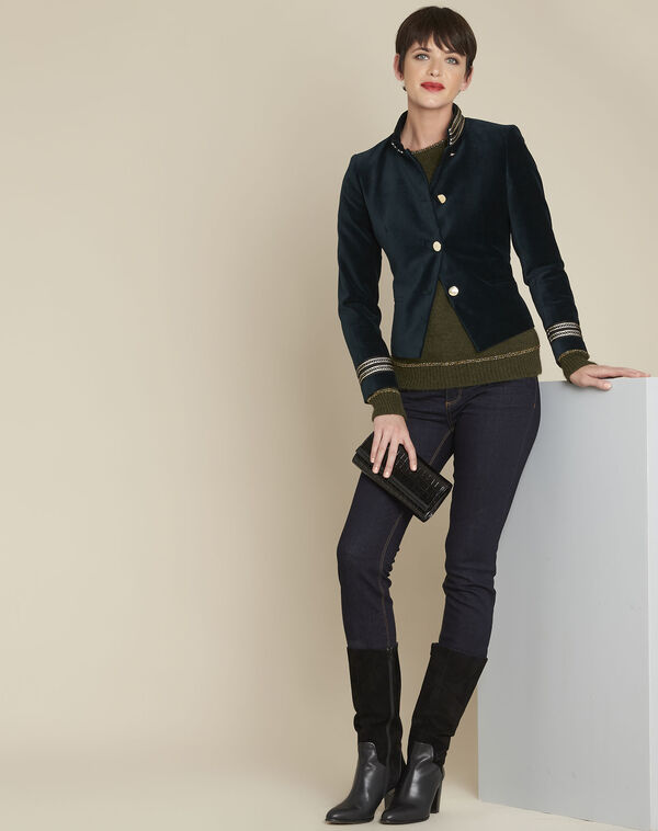 Samana dark green velvet officer-style jacket (1) - 1-2-3