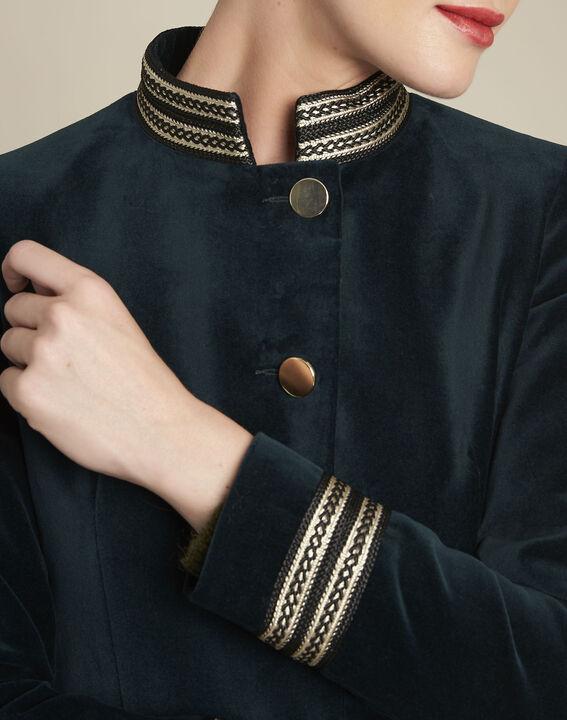 Samana dark green velvet officer-style jacket (3) - 1-2-3