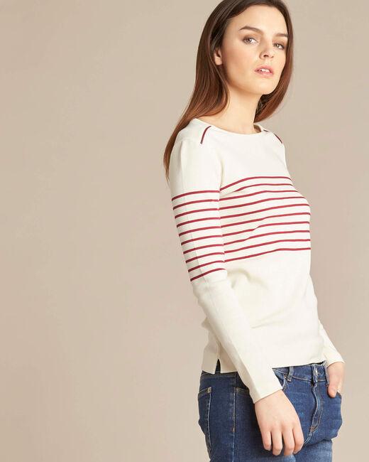 T-Shirt mit roten Streifen und Rundhalsausschnitt Escorteur (2) - 1-2-3