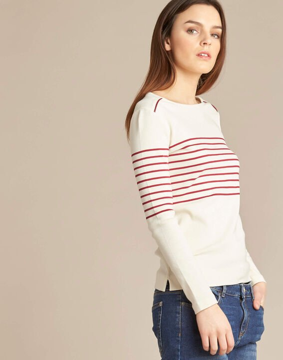 Escorteur striped red sweater with rounded neckline (3) - 1-2-3
