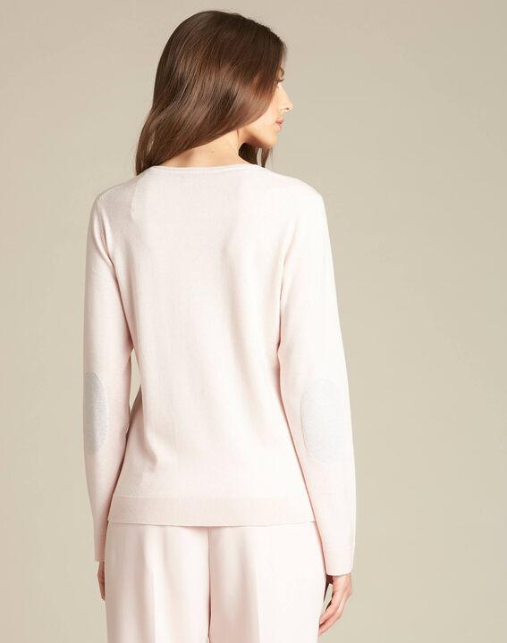 Pull rose pâle encolure brillante laine et soie Newyork (4) - 1-2-3