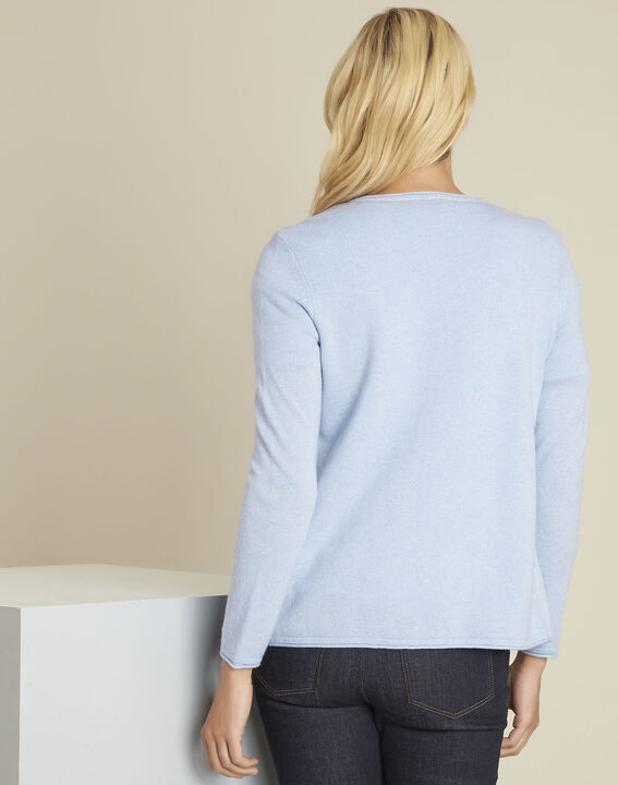 Gilet bleu azur laine cachemire Ballerine (4) - 1-2-3