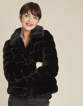 Laura black reversible faux fur jacket black.
