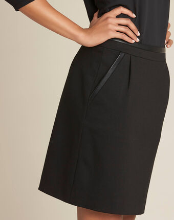 Leslie black straight-cut skirt with faux-leather detailing black.