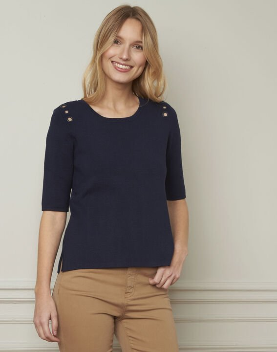 Pull marine compact oeillets Abricot (1) - Maison 123