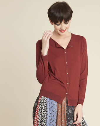Mahoniebruin vest van dun tricot bambou sable.