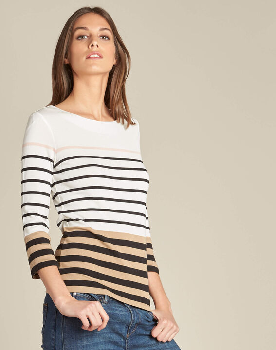 Ecrufarbenes Streifen-T-Shirt Esayat PhotoZ | 1-2-3