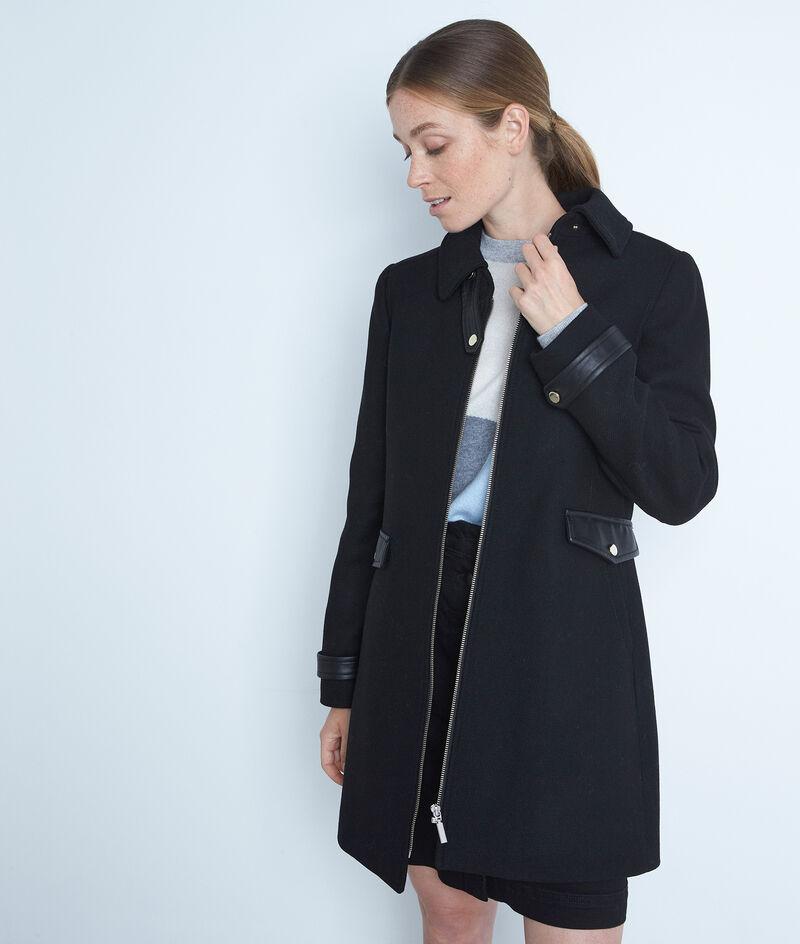 Gerader Mantel aus Wolle Reißverschluss schwarz Lila PhotoZ | 1-2-3