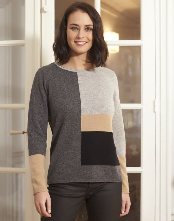 Block grey cashmere pullover PhotoZ | 1-2-3