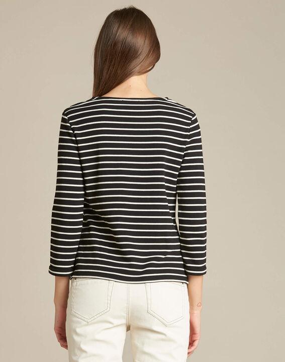 Schwarzes Streifen-T-Shirt mit 3/4-Ärmeln Escadre (4) - 1-2-3