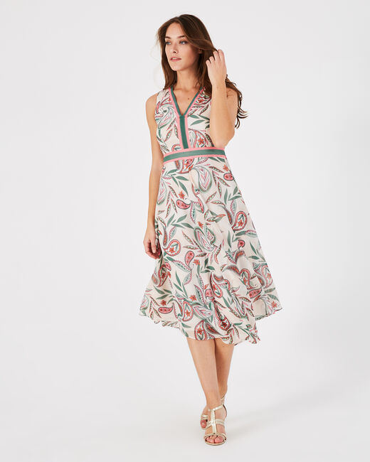 Adèle nude long dress with a stunning print (2) - 1-2-3