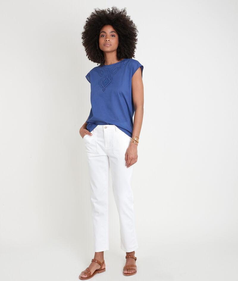 T-shirt bimatière en coton brodé bleu Camille  PhotoZ | 1-2-3