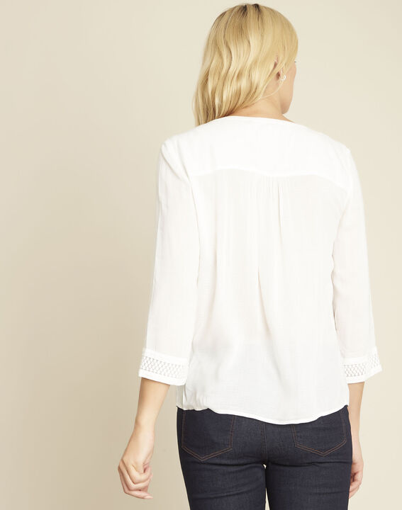 Cassandra ecru blouse with lace insert (4) - 1-2-3