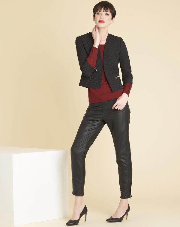 Geprägte schwarze Jacke mit Stan-Reißverschlüssen (2) - 1-2-3