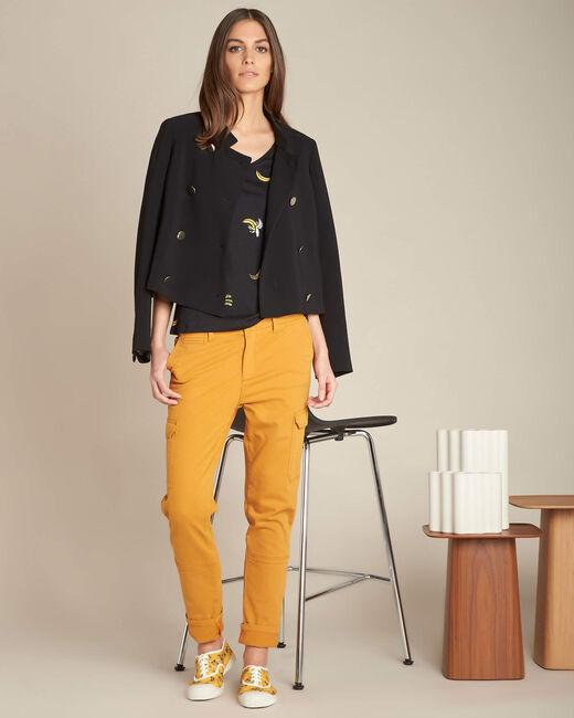 Pantalon jaune moutarde cargo 7/8ème Damien (1) - 1-2-3