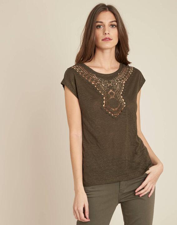 Elise khaki openwork T-Shirt with lace (3) - 1-2-3