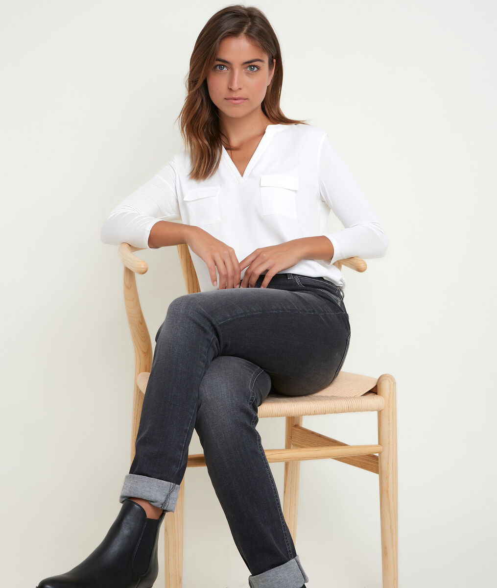 Tee-shirt écru bimatière col tunisien Genna PhotoZ   1-2-3