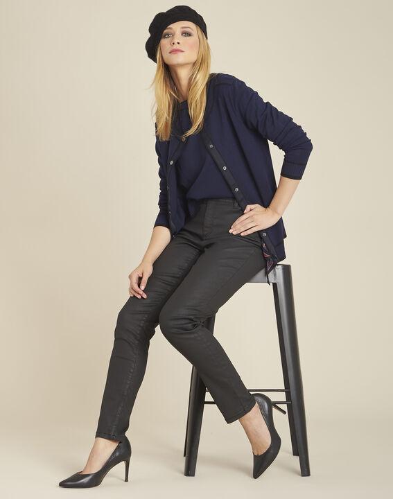 Zweifarbige marineblaue und schwarze Strickjacke mit Druckknöpfen Beauty (3) - 1-2-3