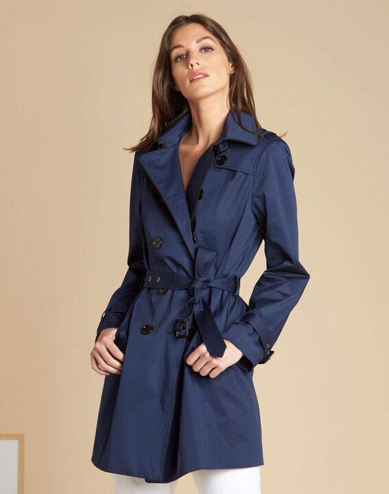Kate dark indigo braided trench coat (3) - 1-2-3