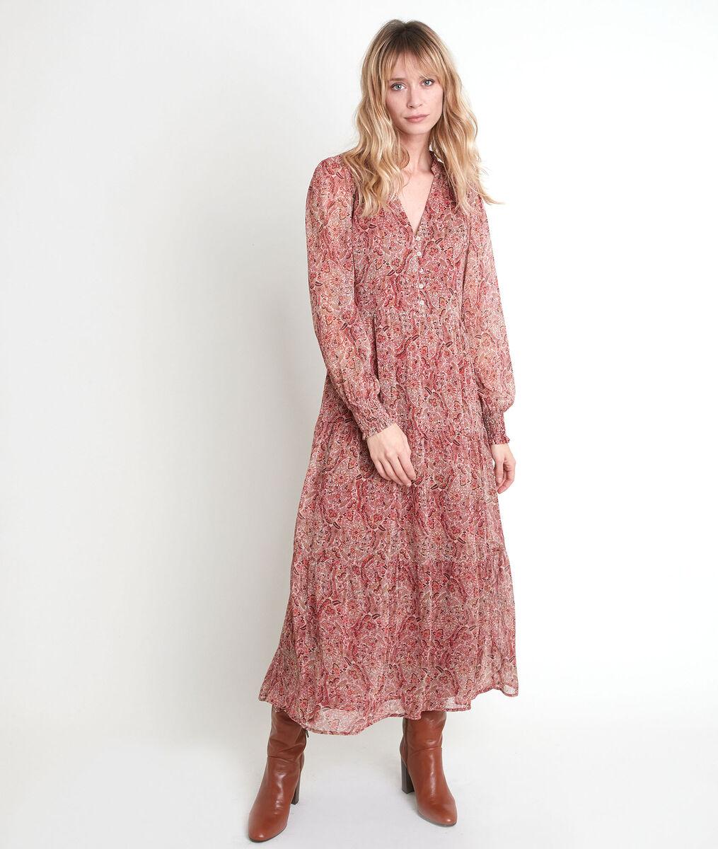Beigefarbenes, langes Kleid mit Printmuster NADA PhotoZ | 1-2-3