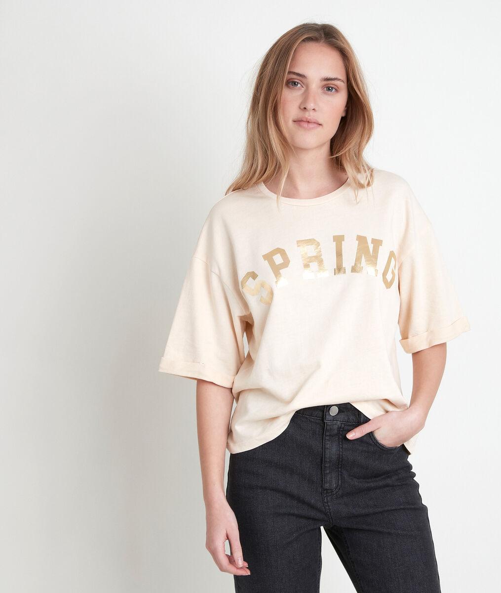 Tee-shirt en coton biologique jaune imprimé Itak bis PhotoZ | 1-2-3