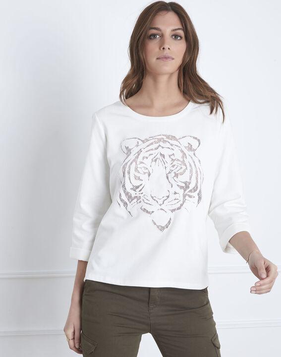 Naturfarbenes Sweatshirt Tigerkopf Transparenz Pondichéry (2) - Maison 123
