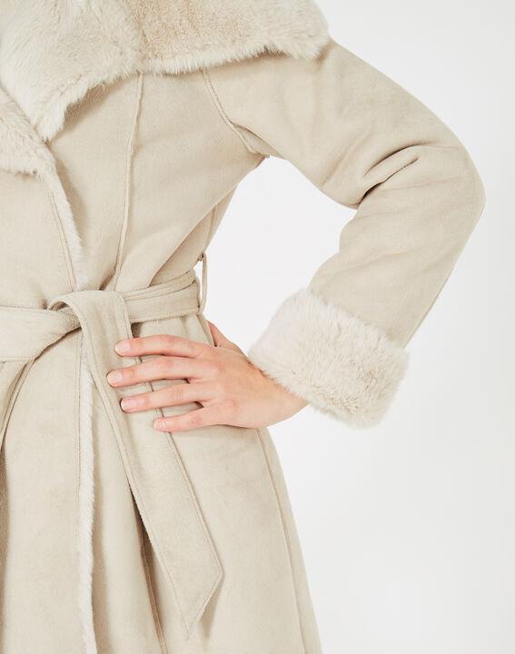 Manteau ficelle mi-long en peau lainée Lina (5) - 1-2-3