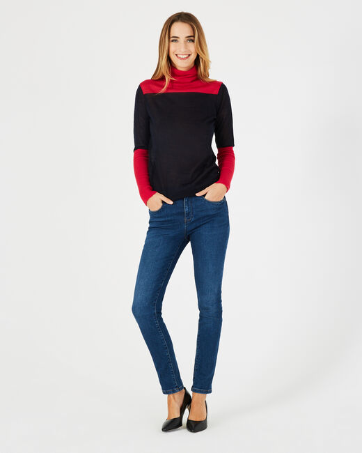 Poire striped navy sweater with polo-neck (1) - 1-2-3