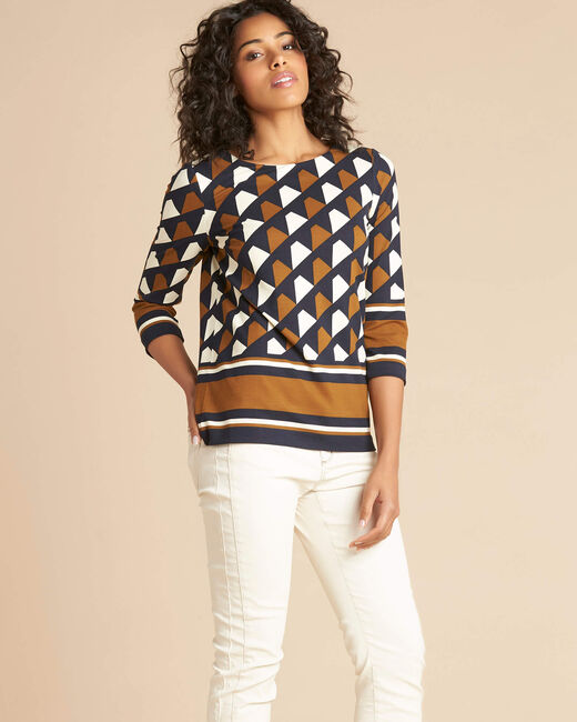 Evita block camel blouse with graphic print (2) - 1-2-3