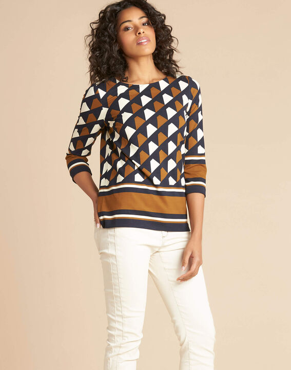 Evita block camel blouse with graphic print (3) - 1-2-3