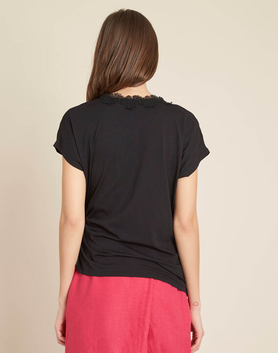 Gretta black shirt with cross-over neckline in lace (4) - 1-2-3