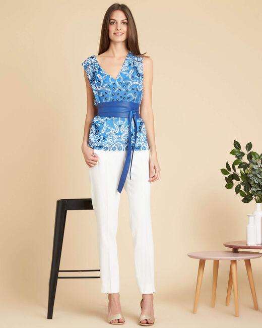 Glacon V-neck sky blue sleeveless top with tie (1) - 1-2-3