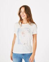 Tee-shirt imprimé en modal bouche blanc casse.