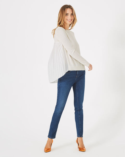 Pleats off-white frilly, wool-blend sweater (1) - 1-2-3