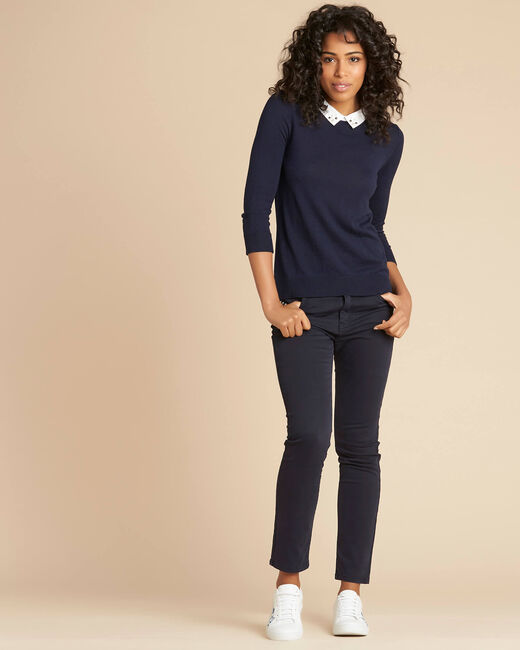 Noe navy blue T-Shirt with shirt collar (1) - 1-2-3