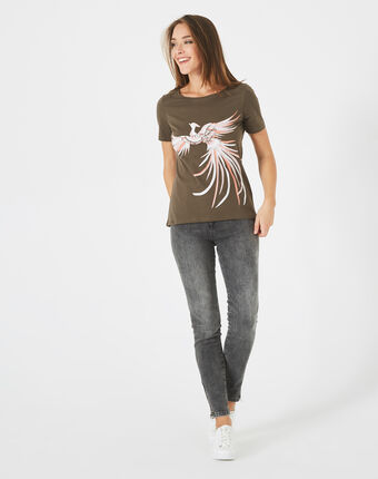Tee-shirt kaki imprimé phœnix butterfly kaki.