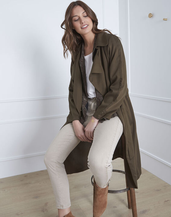 Trench kaki long détails oeillets Dolly (1) - 1-2-3