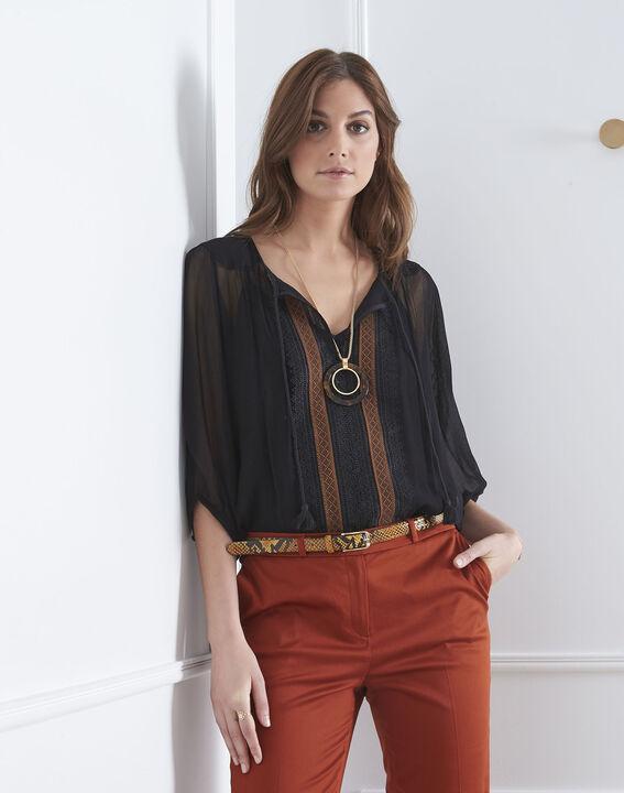 Zwarte blouse van kant met pompon Valentine PhotoZ | 1-2-3