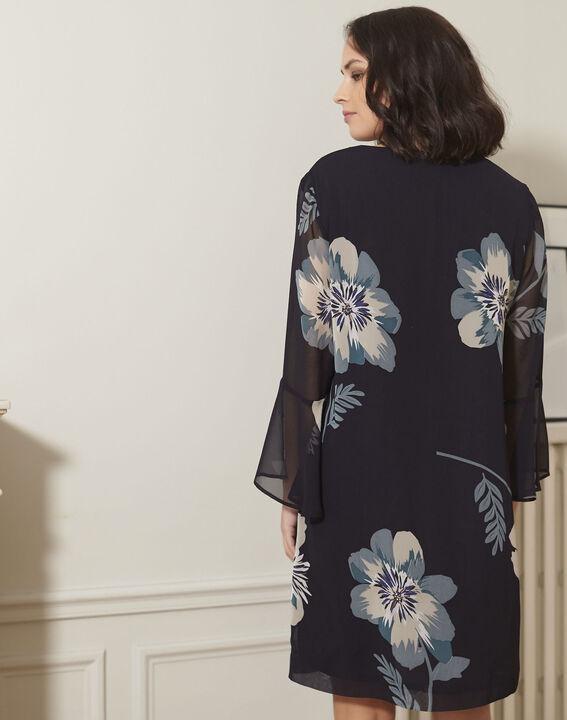 Marineblauwe jurk met bloemenprint Astrid (4) - 37653