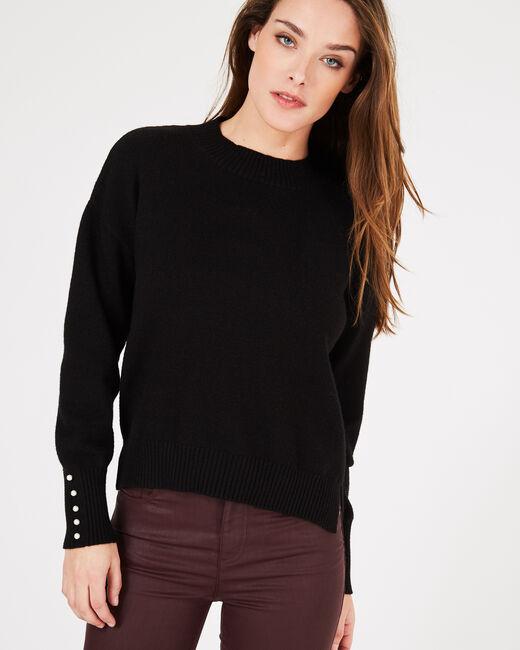Schwarzer Pullover mit perlenverzierten Ärmeln Pearl (2) - 1-2-3