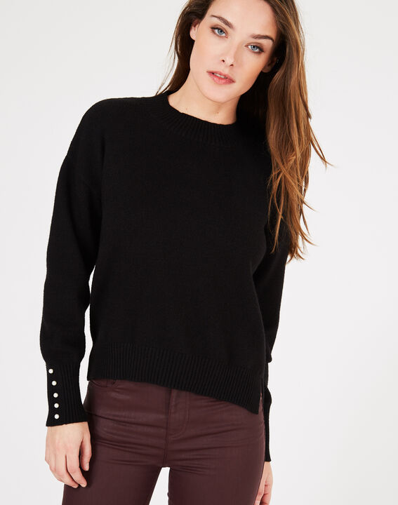 Pearl black sweater with beaded sleeves (2) - 1-2-3