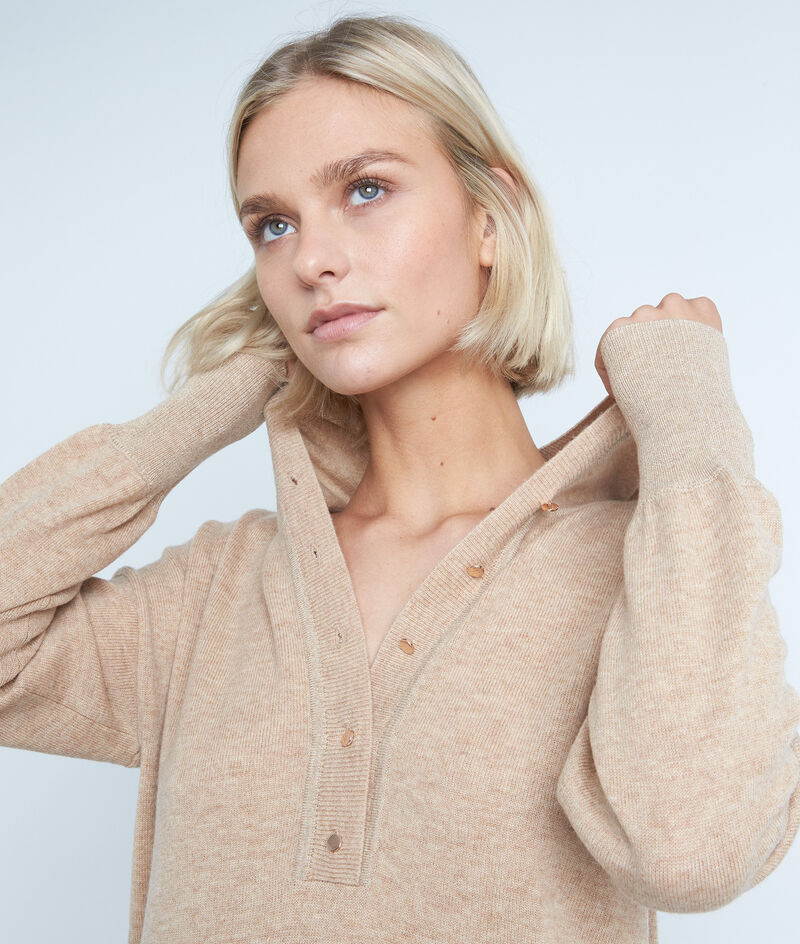 Robe à capuche en laine et cachemire beige Shalini PhotoZ | 1-2-3