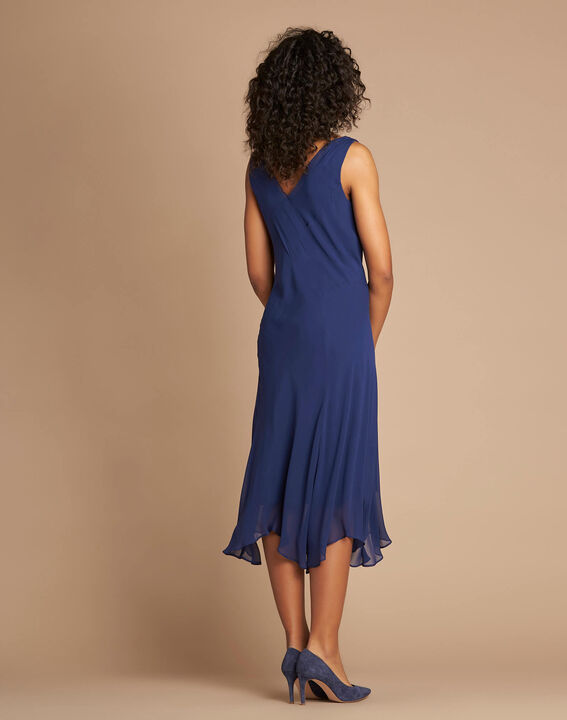 Robe indigo mi-longue dansante en soie Foret (4) - 1-2-3