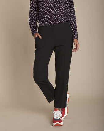 Suzanne tailored black trousers with lateral band black.