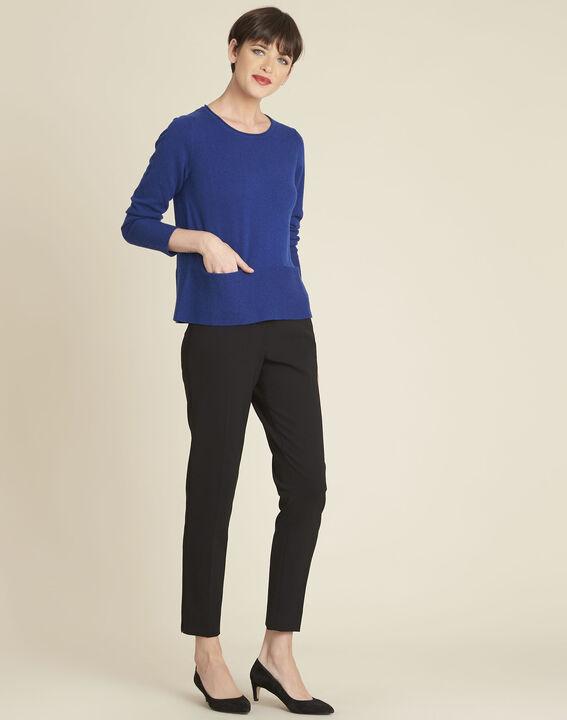 Donkerblauwe trui van kasjmier met zakken Brume (2) - 37653