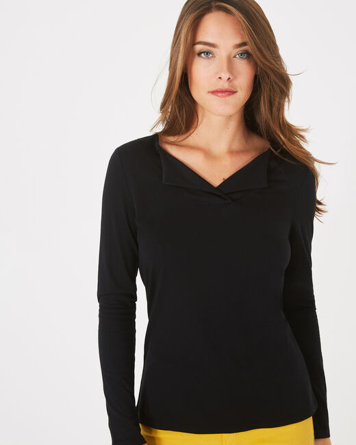Brume black T-shirt with lapel collar (2) - 1-2-3