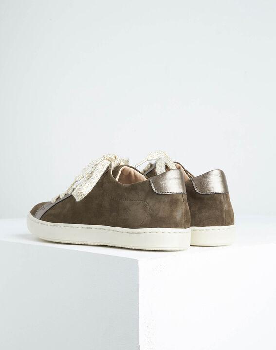 Khakifarbene Sneakers im Materialmix Kamille (3) - 1-2-3