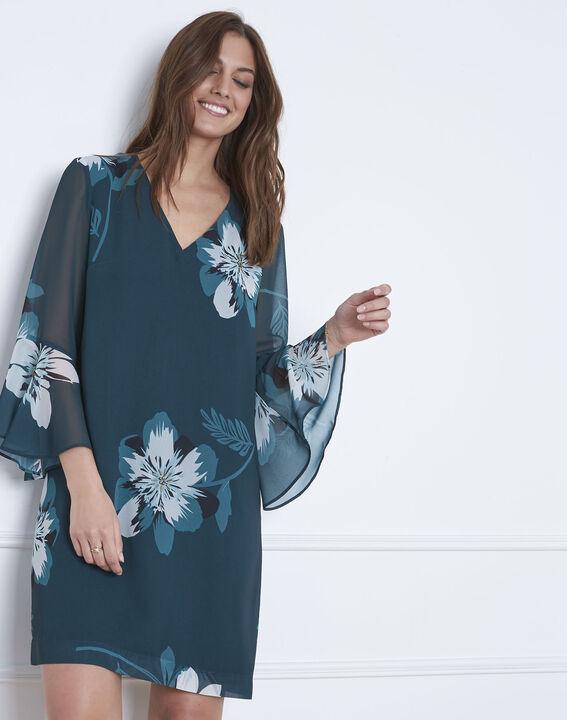 Dunkelgrünes Kleid mit Blumen-Print Astrid (1) - Maison 123