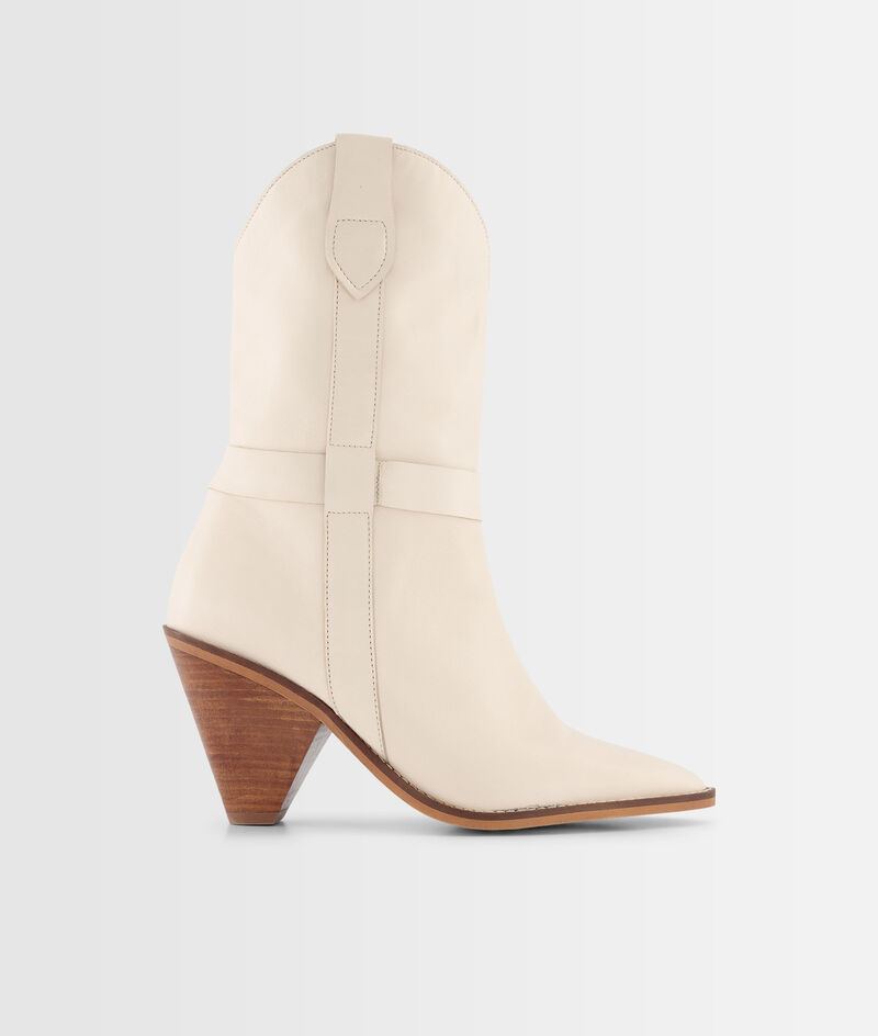 Boots à talons en cuir souple écru Halma PhotoZ   1-2-3