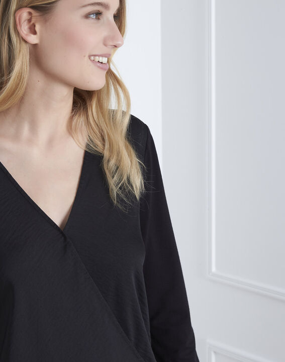 Schwarze Bluse aus Bimaterial in Wickel-Optik  (3) - Maison 123